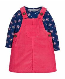 Mothercare Dungaree Style Frock With Full Sleeves Tee - Dark Blue & Pink