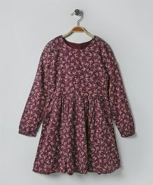 Mothercare Full Sleeves Twill Dress Floral Print - Dark Maroon