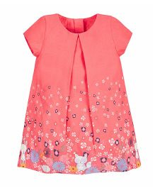 Mothercare Short Sleeves A Line Dress Floral Print - Peach