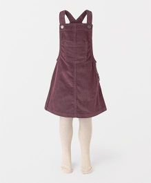 Mothercare Sleeveless Dungaree Style Frock With Stocking Tights - Purple Light Yellow