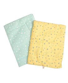 BeeBop Diaper Changing Mats Heart Print Pack of 2 - Green & Yellow