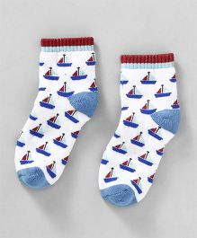 Cute Walk by Babyhug Anti Bacterial Ankle Length Ship Design Socks - Blue White