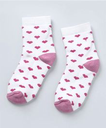 Cute Walk by Babyhug Anti Bacterial Ankle Length Socks Heart Design - White Pink