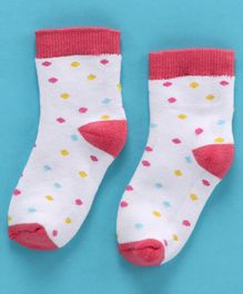 Cute Walk by Babyhug Anti Bacterial Ankle Length Polka Dots Design Socks - Red White