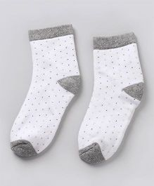 Cute Walk by Babyhug Anti Bacterial Ankle Length Socks - Grey White
