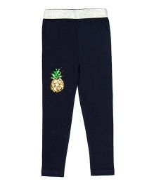 Lilpicks Couture Pineapple Applique Leggings - Navy