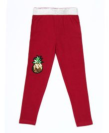 Lilpicks Couture Pineapple Applique Leggings - Plum
