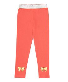 Lilpicks Couture Bow Applique Leggings - Coral