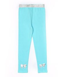Lilpicks Couture Bow Applique Leggings - Sky Blue