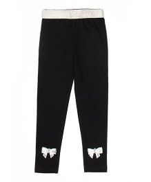 Lilpicks Couture Bow Applique Leggings - Black