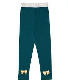 Lilpicks Couture Bow Applique Leggings - Emerald