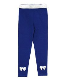 Lilpicks Couture Bow Applique Leggings - Royal Blue