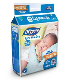 Drypers Wee Wee Dry Diapers New Born Size - 64 Pieces