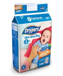 Drypers Wee Wee Dry Diapers Small Size - 58 Pieces