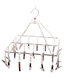 Hazel Stainless Steel Square Hanger with Clips - Silver