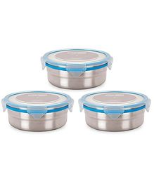 Steel Lock Airtight Food Storage Containers Set of 3 - 700 ml each (Color May Vary)