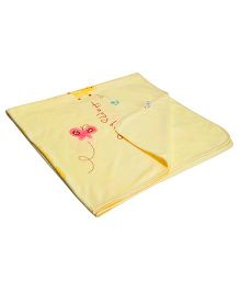 Kiwi Fleece Blanket Teddy & Ballon Print - Yellow