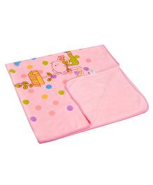Kiwi Fleece Blanket Teddy & Polka Dots Print - Pink
