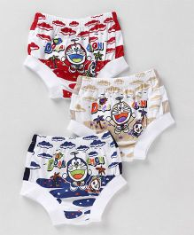 Red Rose Doraemon Character Printed Briefs Pack of 3 - Multicolour