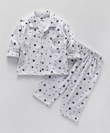 Teddy Full Sleeves Night Suit Alphabet Print - Light Grey