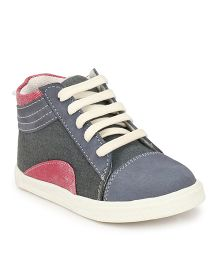 Tuskey Casual Shoes With Lace Tie-Up - Grey Pink