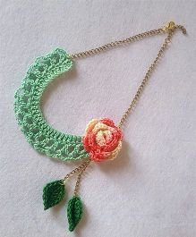 Soulfulsaai Crochet Flower Necklace - Sea Green