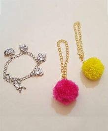 Soulfulsaai Pompom And Charms Bracelet Set Of 3 - Pink & Yellow