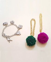Soulfulsaai Pompom And Charms Bracelet Set Of 3 - Green & Purple