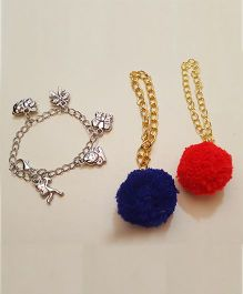 Soulfulsaai Pompom And Charms Bracelet Set Of 3 - Red & Blue