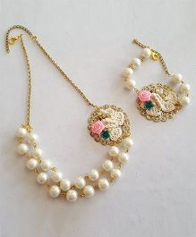 Soulfulsaai Filigree Pearl Necklace & Bracelet - Off White