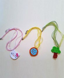 Soulfulsaai Crochet Charm Set Of 3 Necklace - Multicolor