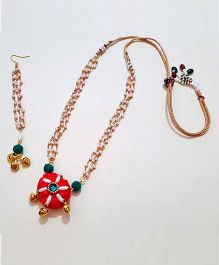 Soulfulsaai Pearl & Chain Necklace With Maangtikka - Red