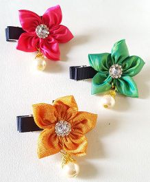 Soulfulsaai Floral Alligator 3 Hair Clips - Pink Green Yellow