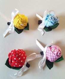 Soulfulsaai Set Of 4 Rose Clips - Multicolor