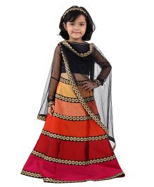 Kidology Shade Cardcholi & Lehnga Set With Dupatta - Black & Multicolour
