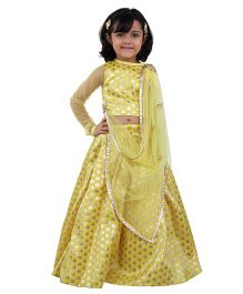 Kidology Pan Full Brocade Choli & Lehenga Set With Dupatta - Yellow