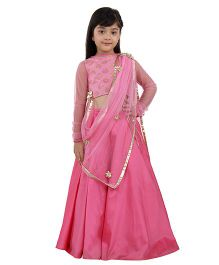 Kidology Pan Brocadecholi & Lehenga Set With Dupatta - Onion Pink