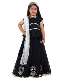 Kidology Lotus Applique Peplum Choli & Lehenga Set With Dupatta - Black