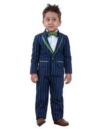 Kidology Grass Stripe Blazer & Pant Set - Navy & Green