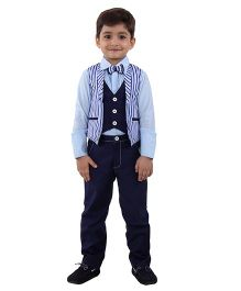 Kidology Sky Loungevest With Blazer & Pants Set - Aqua & Navy
