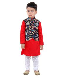 Kidology Floral Vest With Kurta Pajama - Red