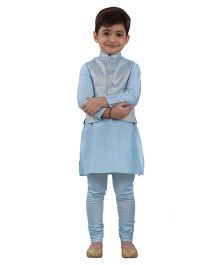 Kidology Lotus Vest With Kurta Pajama - Light Blue