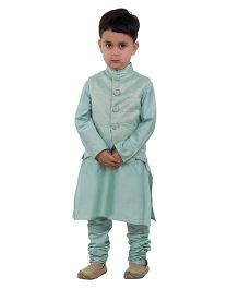 Kidology Lotus Vest With Kurta Pajama - Light Green