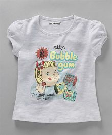 E-Todzz Puff Sleeves T-Shirt Girl Print - Grey