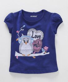 E-Todzz Puff Sleeves Top Bird Print - Blue