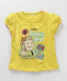 E-Todzz Puff Sleeves Top Girl Print - Light Yellow