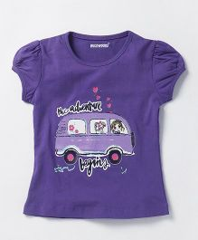 E-Todzz Cap Sleeves T- Shirt Bus Print - Purple