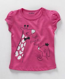 E-Todzz Puff Sleeves Top Giraffe Print - Pink