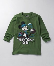 Eteenz Full Sleeves T-Shirt Mickey Mouse Print - Dark Green