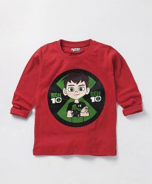 Eteenz Full Sleeves Tee Ben 10 Print - Red & Green